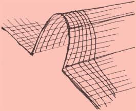 Расположение штриха на складках